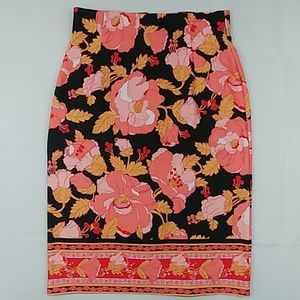 Eva Mendez Collection Blk, Pink Floral Skirt 12